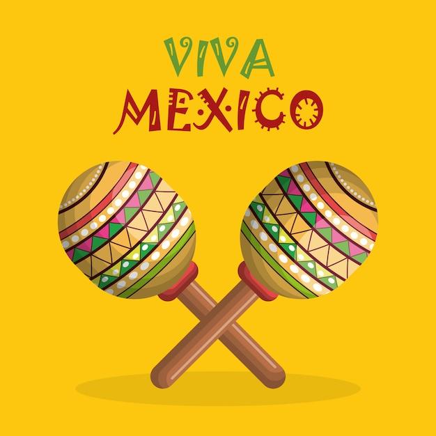 Mexican maracas festival instrument Premium Vector