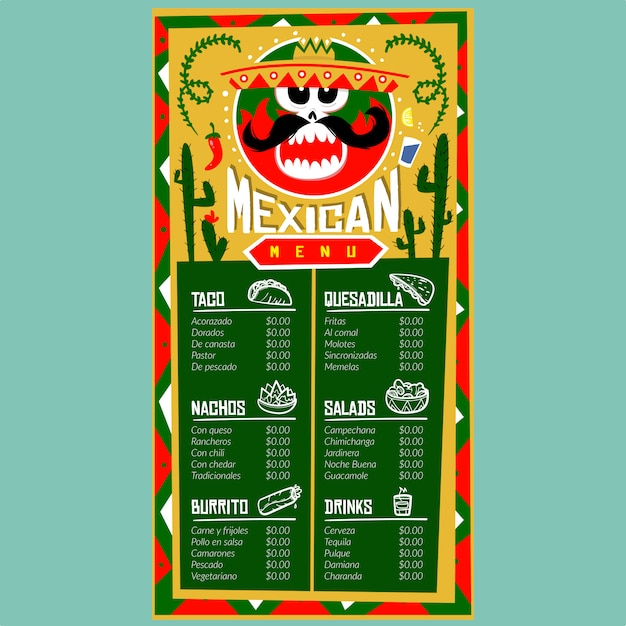 Mexican menu template for restaurant and cafe. design template with food hand-drawn graphic illustrations Premium Vector