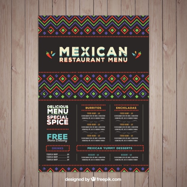 Mexican menu template with ethnic shapes Free Vector