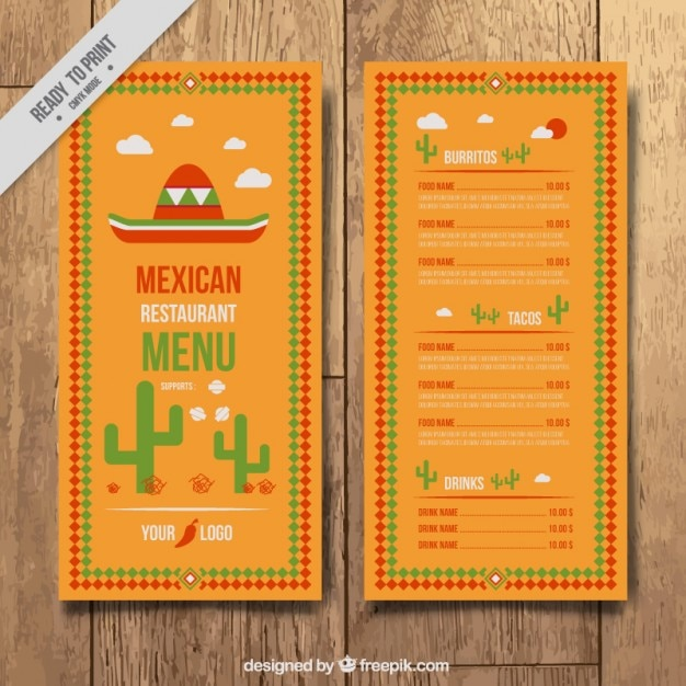 mexican restaurant menu templates - 28 images - mexican menu ...