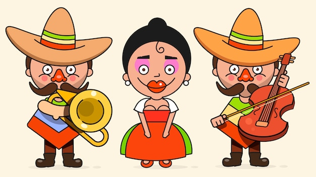 Mexican musicians illustration with two men and a woman with guitars in native clothes and sombrero flat Premium Vector