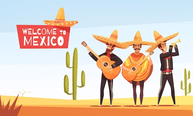 Mexican musicians illustration Free Vector
