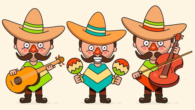 Mexican musicians vector illustration with three men with guitars in native clothes and sombrero flat vector Premium Vector
