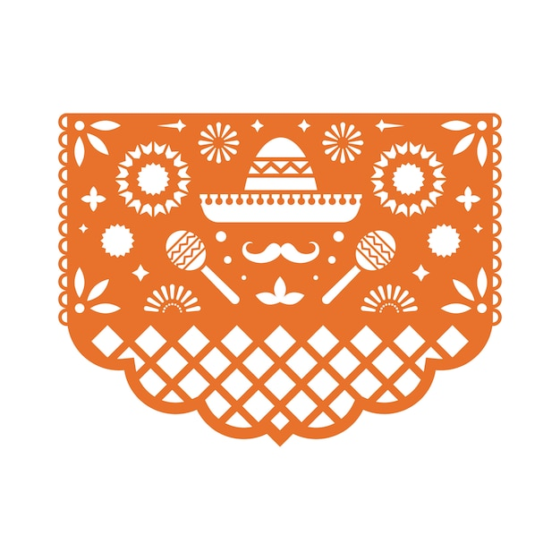 Mexican papel picado greeting card with floral pattern. Premium Vector