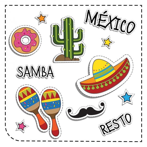 Mexican party sticker applique Premium Vector