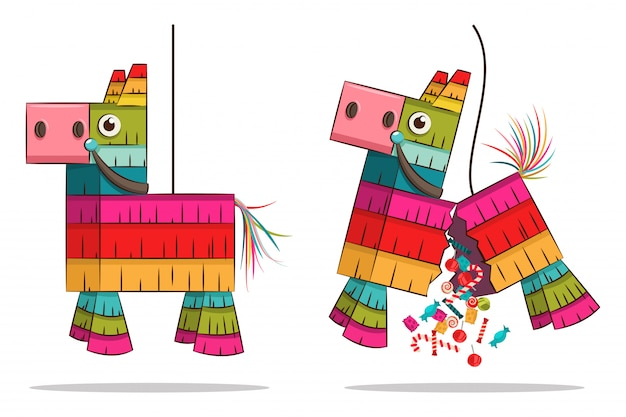 Mexican pinata horse with candy Premium Vector