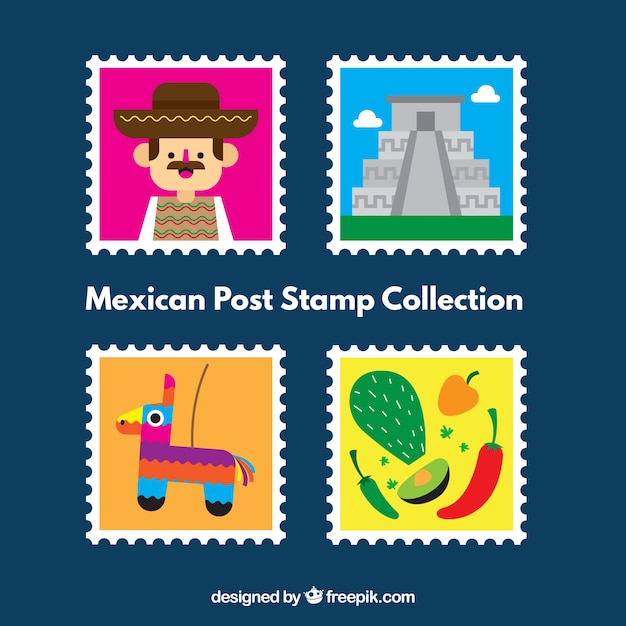 Mexican post stamp pack Free Vector