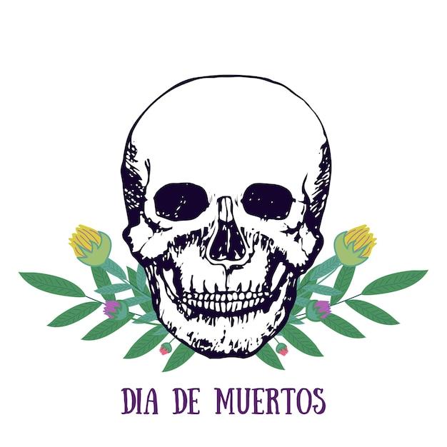 멕시코 판화-dia De Muertos. 죽은 포스터의 날. 꽃과 두개골. 벡터 프리미엄 벡터