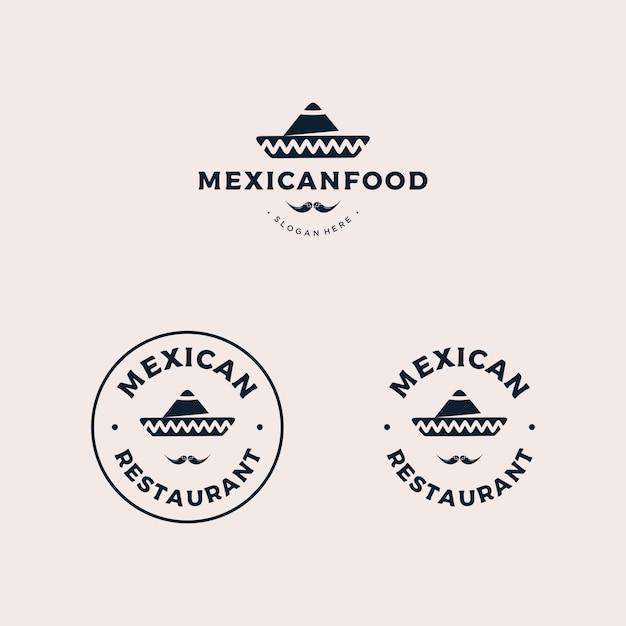 Mexican restaurant badge logo Premium Vector