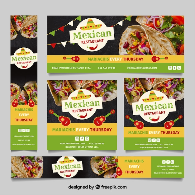 Mexican restaurant banner collection with photos Free Vector