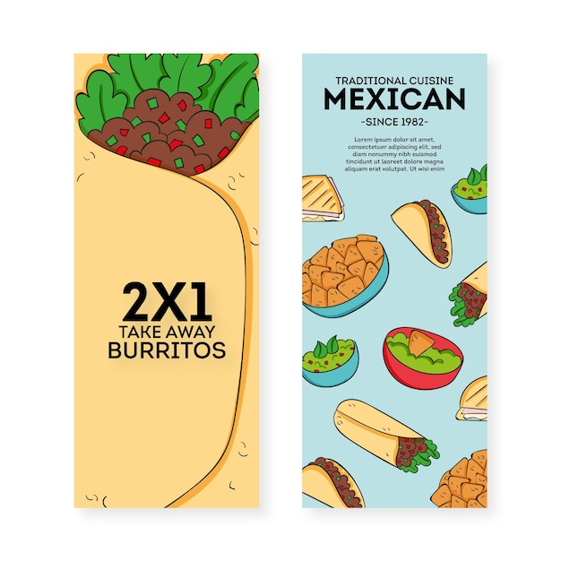 Mexican restaurant banner pack template Free Vector