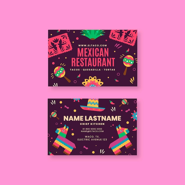 Mexican restaurant food double sided horizontal business card Premium Vector