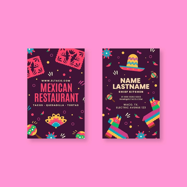 Mexican restaurant food double sided vertical business card Premium Vector