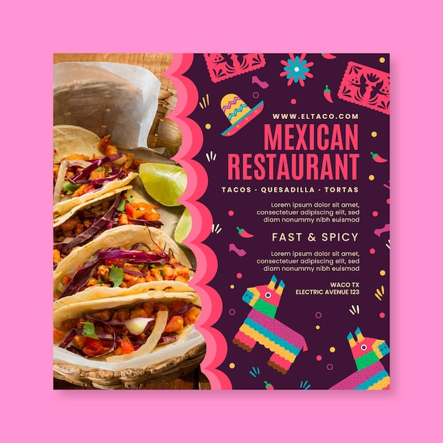Mexican restaurant food flyer square template Free Vector