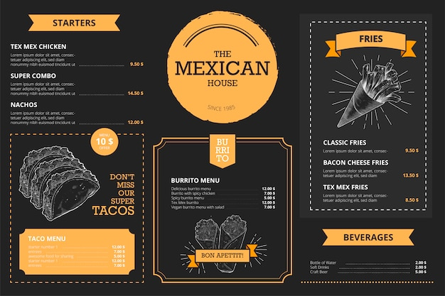 Mexican restaurant menu template with hand drawn food Free Vector