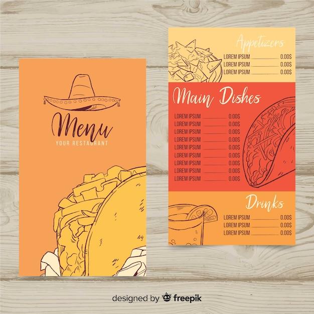 mexican restaurant menu template vector free download