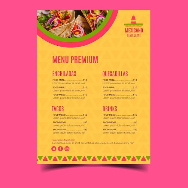 メキシコ料理レストランメニューテンプレート Premiumベクター