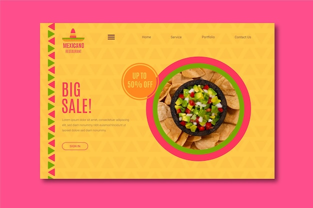 Mexican restaurant voucher template Free Vector