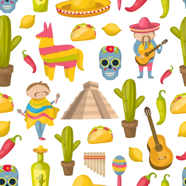 伝統の要素と国の観光スポットの要素を持つメキシコのシームレスパターンベクトルイラスト 無料ベクター