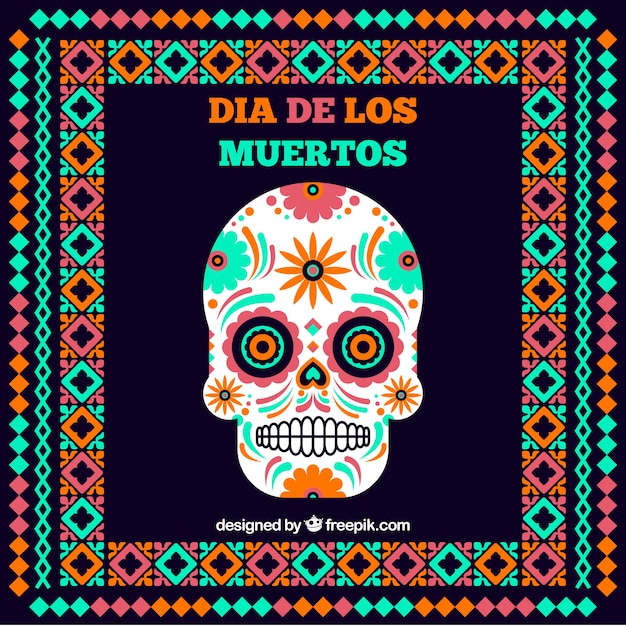 Mexican skull background with frame in flat design Free Vector