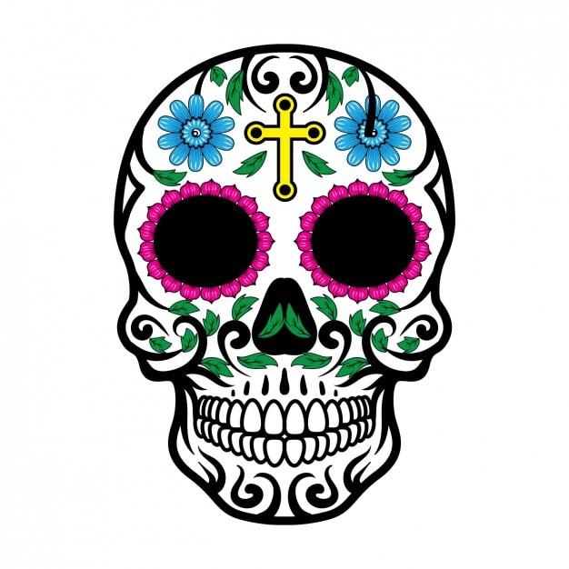 mexican skull design vector free download