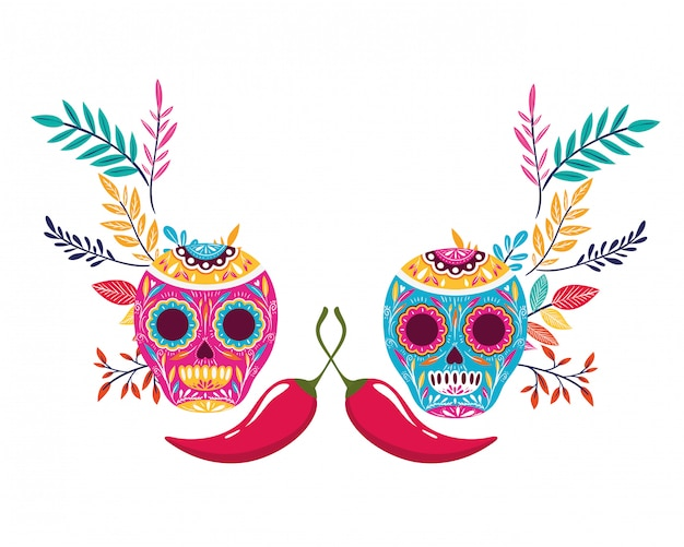 Mexican skull isolated icon Premium Vector