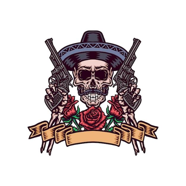 Мексиканский череп с оружием, рисованной линии с цифровым цветом Premium векторы