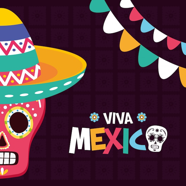 Mexican skull with hat and garlands Free Vector