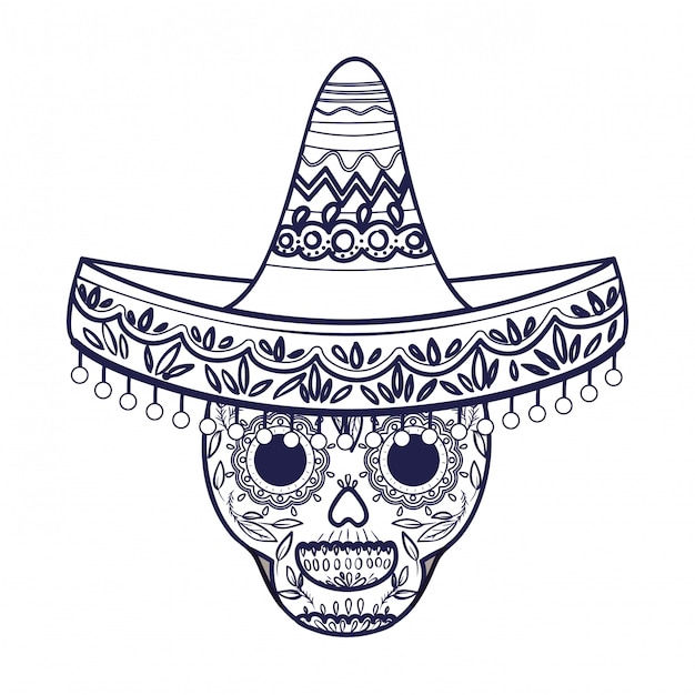 Mexican skull with hat isolated icon Premium Vector