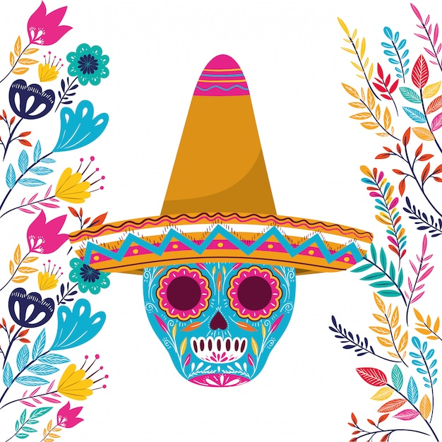 Mexican skull with hat on white Premium Vector