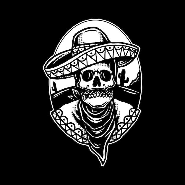 Mexican skullロゴ Premiumベクター