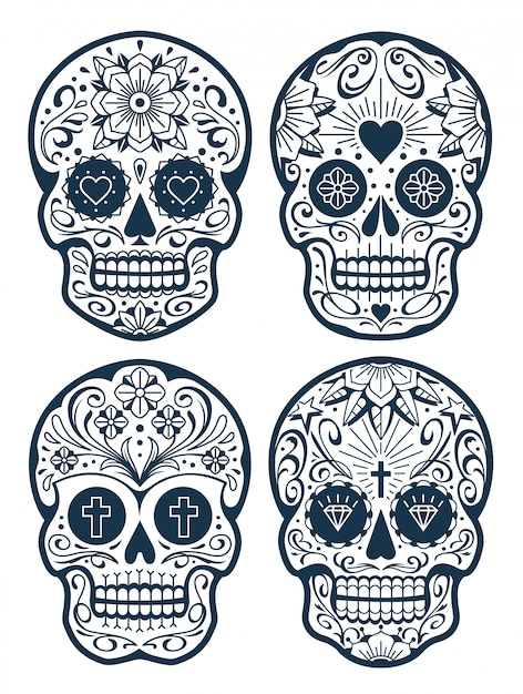 Mexican Skulls With Patterns Old School Tattoo Style Sugar Skulls Vector Skulls Collection Premium Vector