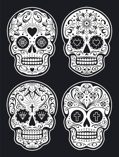 Mexican Skulls With Patterns Old School Tattoo Style Sugar Skulls White On Black Version Vector Skulls Collection Premium Vector