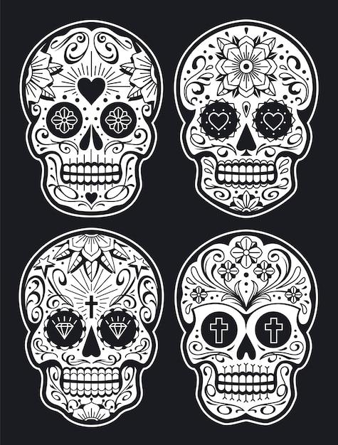 パターンとメキシコの頭蓋骨。古い学校の入れ墨のスタイルのシュガースカル。黒バージョンに白。ベクトルの頭蓋骨のコレクション。 Premiumベクター