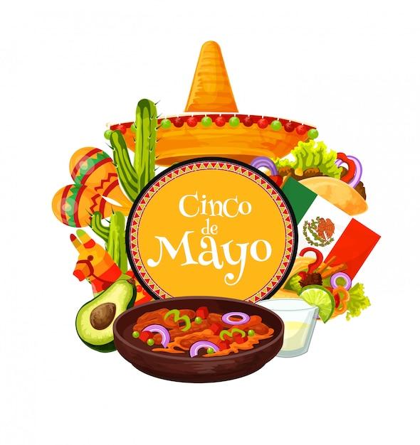 Мексиканские сомбреро, еда для вечеринки. синко де майо Premium векторы