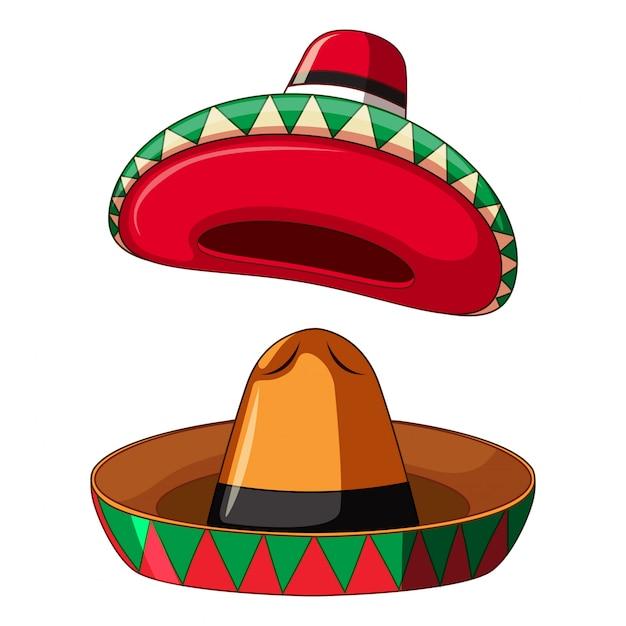 Mexican sombrero on white background Premium Vector
