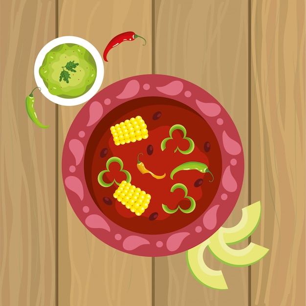 Mexican spicy food with sauce and avocado Premium Vector