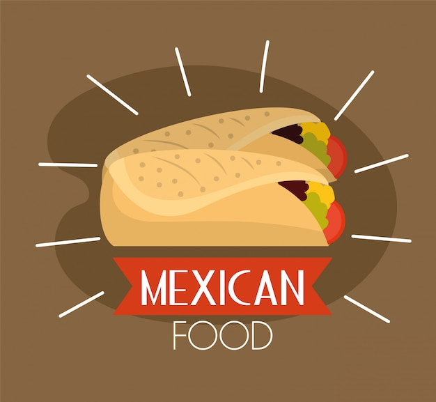 Mexican spicy tacos traditional food Premium Vector