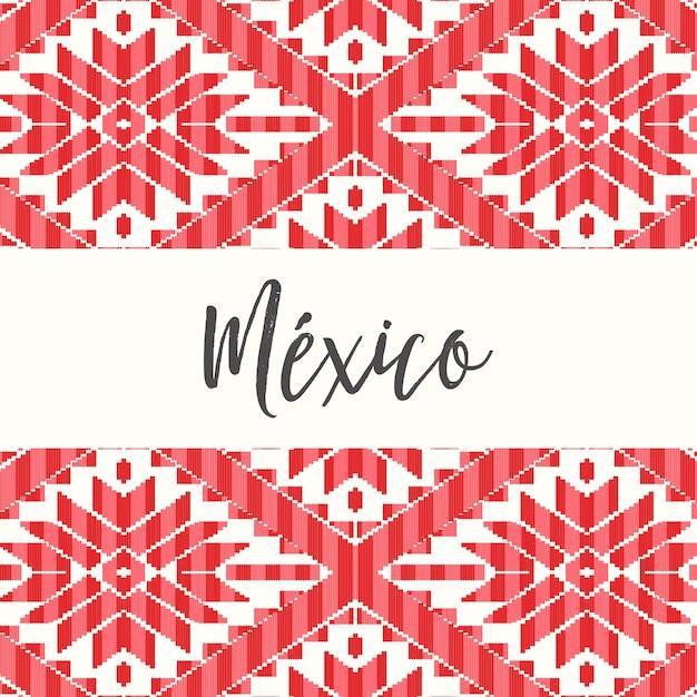 メキシコ風パターン-コピースペーステンプレート Premiumベクター