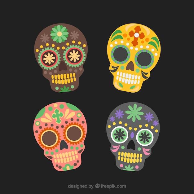 Mexican sugar skull, dia de los muertos set Free Vector