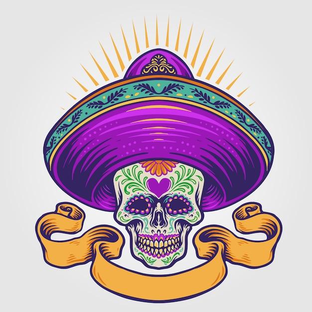 バナーとメキシコの砂糖の頭蓋骨の図 Premiumベクター
