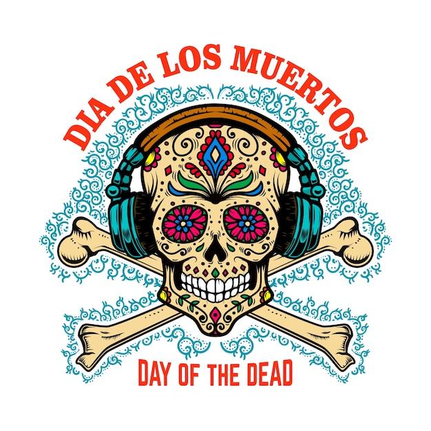 Мексиканский сахарный череп с наушниками и скрещенными костями. день смерти. Premium векторы