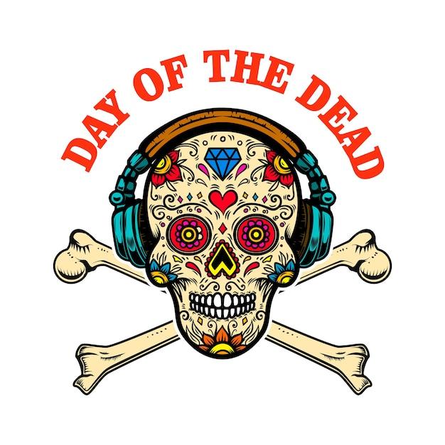 メキシコの砂糖の頭蓋骨とヘッドフォンとクロスボーン。死霊のえじき。 Premiumベクター