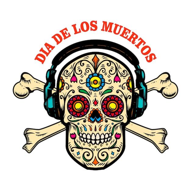 メキシコの砂糖の頭蓋骨とヘッドフォンとクロスボーン。 Premiumベクター