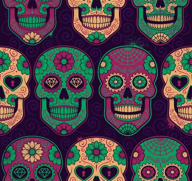 멕시코 설탕 두개골 완벽 한 패턴입니다. 각 색상은 그룹에 있습니다. 프리미엄 벡터