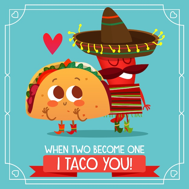 Mexican taco background with love quote Premium Vector