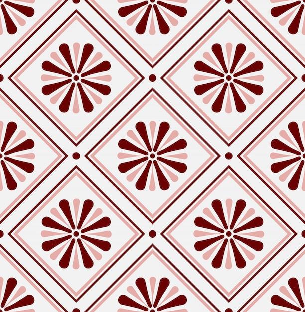Mexican talavera, ceramic tile pattern, italain pottery decor, portuguese azulejo seamless design, colorful spanish majolica ornament Premium Vector