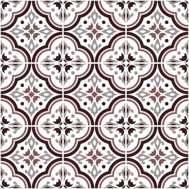 Mexican talavera ceramic tile pattern, italian pottery decor, portuguese azulejo seamless pattern, colorful spanish majolica ornament, gray and brown antique wallpaper Premium Vector