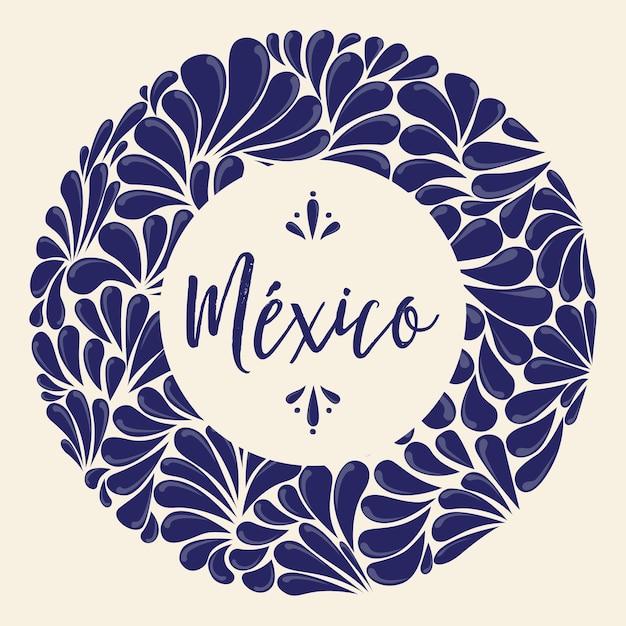Mexican talavera painting composition Premium Vector