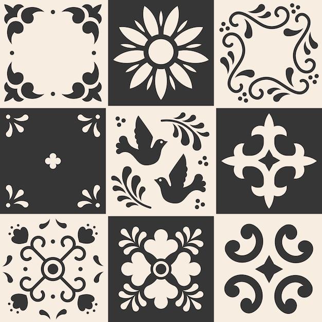 Мексиканская картина талавера. керамическая плитка в традиционном стиле из пуэбла. мексика цветочные мозаика в синий и белый. Premium векторы